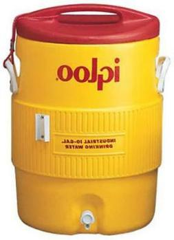 10 Gallon Industrial Water Cooler; Safety Yellow and Red; Wi