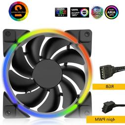12V Case Cooler Fan 4Pin PWM Quiet RGB LED Light PC Fan for