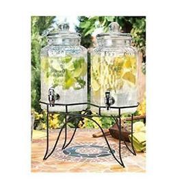 1842 del sol hammered jug beverage dispenser with rack, set