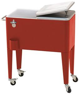 60 quart red steel beverage