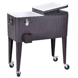 Giantex 80 Quart Rattan Rolling Cooler Cart Outdoor Patio Po