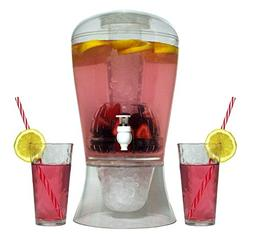 Large 2 Gallon Beverage Dispenser on Stand with Spout Ice Ba