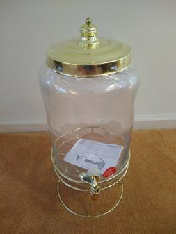 Fancy Glass Water Cooler with Brass Stand, Hobby Lobby