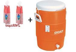 Igloo 5-Gallon Heavy-Duty Beverage Cooler, Orange & Disposab