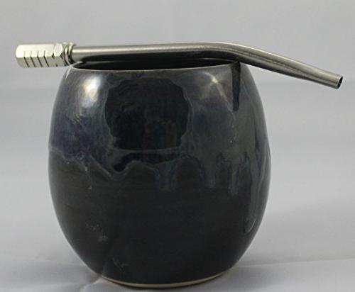 Ceramic Mate Gourd aka Yerba Mate Cup Blue Mixed Swirl with