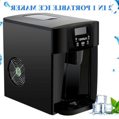 Black 2 in 1 Ice Maker Water Cooler Compact Countertop Ice C