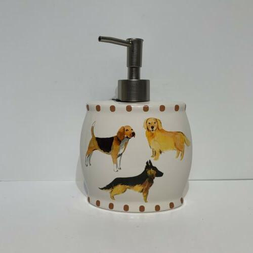 dogs on parade lotion soap dispenser brushed