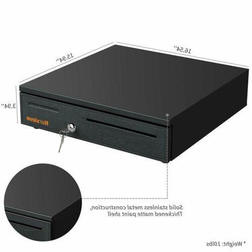 "16"" Coin Cash Money Box w/Tray Storage&Keys Black"
