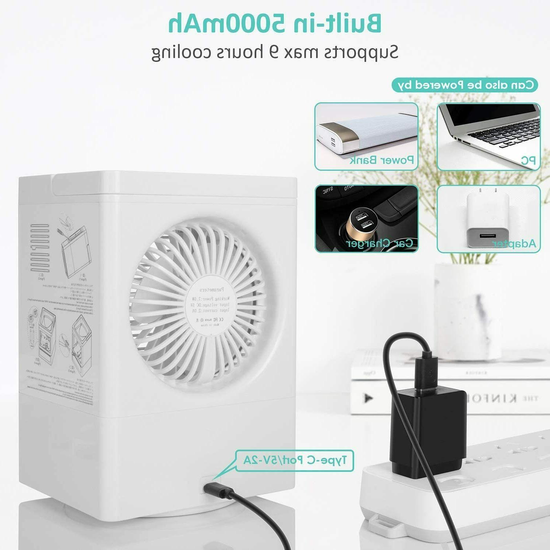 Portable Fan Cooler Box w/ Ice Water Desktop mini Evaporative Fan