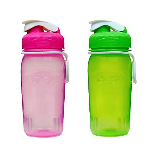refillable water bottles pink green