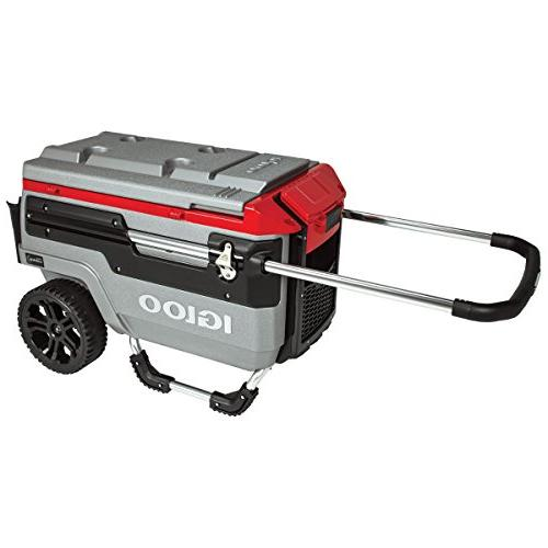 Igloo Trailmate Lighted 70 Cooler, Silver/Red