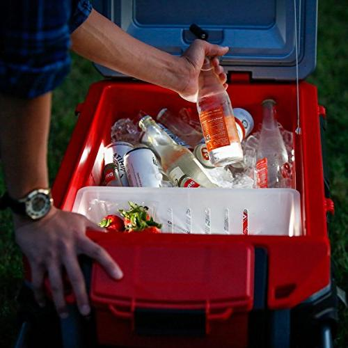 Igloo Trailmate Lighted 70 Quart Cooler, Silver/Red