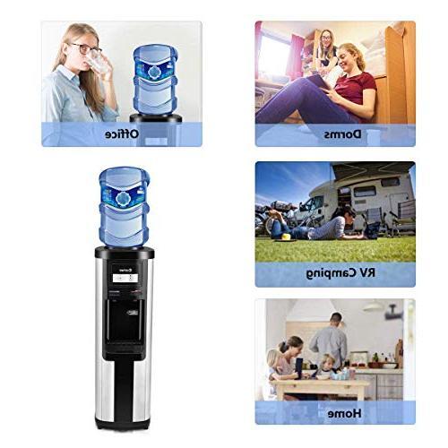 Costway Water Cooler Dispenser 5 Gallon Water Dispenser Stainless Steel Freestanding Water Cooler