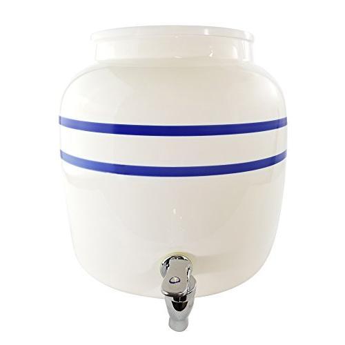 water porcelain crock dispenser double blue line