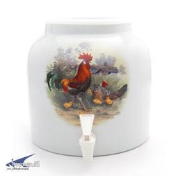 Bluewave Rooster with Chicks Design Beverage Dispenser Crock