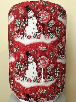 SNOWMAN CANDY RED SNOW 5 GALLON WATER COOLER BOTTLE COVER KI