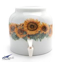 Bluewave Sunflower Blossom Design Beverage Dispenser Crock