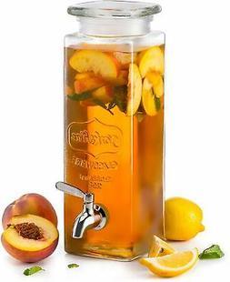 KooK Tall Square Glass Yorkshire Mason Jar Drink Dispenser w