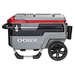 Igloo Trailmate Liddup Wheeled Lighted 70 Quart Cooler, Silv